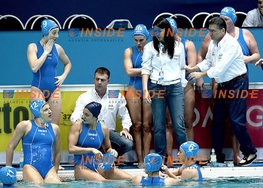 Eindhoven , Netherlands (NED) 18/1/2012.LEN European  Water Polo Championships 2012.Day 03 - Women.Greece  (white) - Italia (blue).Panchina - Coach Fabio Conti.1 GIGLI Elena.2 ABBATE Simona.3 CASANOVA Elisa .4 AIELLO Rosaria .5 QUEIROLO Elisa .6 LAPI Allegra.7 di MARIO Tania .8 BIANCONI Roberta .9 EMMOLO Giulia Enrica.10 RAMBALDI GUIDASCI Giulia.11 COTTI Aleksandra .12 FRASSINETTI Teresa.13 GORLERO Giulia.Photo G.Scala/Deepbluemedia.eu