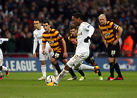 Pictured: Jonathan de Guzman of Swansea scoring a goal with a penalty kick. Sunday 24 February 2013<br /> Re: Capital One Cup football final, Swansea v Bradford at the Wembley Stadium in London.