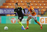 Macclesfield Town's Ben Stephens under pressure from Blackpool's Nick Anderton<br /> <br /> Photographer Kevin Barnes/CameraSport<br /> <br /> The Carabao Cup First Round - Blackpool v Macclesfield Town - Tuesday 13th August 2019 - Bloomfield Road - Blackpool<br />  <br /> World Copyright © 2019 CameraSport. All rights reserved. 43 Linden Ave. Countesthorpe. Leicester. England. LE8 5PG - Tel: +44 (0) 116 277 4147 - admin@camerasport.com - www.camerasport.com