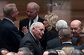 Former Vice President Al Gore, left, speaks with former Vice President Joe Biden, second from left, and his wife Jill Biden, center, as former Vice President Dick Cheney, bottom center, speaks with Commerce Secretary Wilbur Ross, right, before a State Funeral for former President George H.W. Bush at the National Cathedral, Wednesday, Dec. 5, 2018,  in Washington. <br /> Credit: Andrew Harnik / Pool via CNP