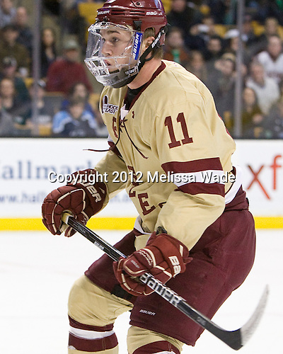 Pat Mullane (BC - 11) - The Boston College Eagles defeated the University of Maine Black Bears 4-1 to win the 2012 Hockey East championship on Saturday, March 17, 2012, at TD Garden in Boston, Massachusetts.