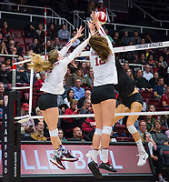 STANFORD, CA - November 15, 2017: Meghan McClure, Audriana Fitzmorris at Maples Pavilion. The Stanford Cardinal defeated USC 3-0 to claim the Pac-12 conference title.