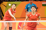 Ayaka Takahashi &amp; Misaki Matsutomo (JPN),<br /> AUGUST 11, 2016 - Badminton :<br /> Women's Doubles Group Play<br /> at Riocentro - Pavilion 4<br /> during the Rio 2016 Olympic Games in Rio de Janeiro, Brazil. <br /> (Photo by Koji Aoki/AFLO SPORT)