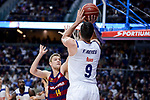Real Madrid's Felipe Reyes and FC Barcelona Lassa's Aleksandar Vezenkov during Liga Endesa match between Real Madrid and FC Barcelona Lassa at Wizink Center in Madrid, Spain. March 12, 2017. (ALTERPHOTOS/BorjaB.Hojas)