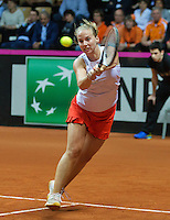 Arena Loire,  Trélazé,  France, 16 April, 2016, Semifinal FedCup, France-Netherlands, Doubles:  Hogenkamp  (NED)<br /> Photo: Henk Koster/Tennisimages