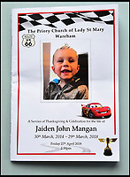 BNPS.co.uk (01202 558833)Pic: GrahamHunt/BNPS<br /> <br /> Cars themed order of service for the funeral of tragic Jaiden Mangan.<br /> <br /> <br /> A 'frustrated' lorry driver mowed down and killed a young boy because he had been distracted by 'sarcastically clapping' another motorist to see lights change, a court heard.<br /> <br /> Dean Phoenix did not notice the red light at a pedestrian crossing that allowed three-year-old Jaiden Mangan to cross in front of him as he was 'swearing and gesticulating' at the time, it is alleged.<br /> <br /> The 44-year-old pulled away to drive around an illegally parked car that was blocking his path and struck Jaiden who was riding a balance bike.<br /> <br /> The youngster suffered severe head injuries and died later in hospital. <br /> <br /> Phoenix is on trial for causing death by dangerous driving.