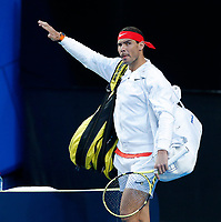 6th January 2020; RAC Arena, Perth, Western Australia; ATP Cup Australia, Perth, Day 4; Spain versus Uruguay; Rafael Nadal of Spain makes his way onto court for his match against Pablo Cuevas of Uruguay - Editorial Use