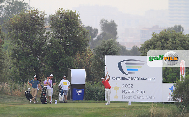 Gregory Havret (FRA) on the 12th tee during Round 1 of the Open de Espana  in Club de Golf el Prat, Barcelona on Thursday 14th May 2015.<br /> Picture:  Thos Caffrey / www.golffile.ie