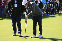Bryson DeChambeau (USA) putts on the practice green at Pebble Beach Golf Links during Saturday's Round 3 of the 2017 AT&amp;T Pebble Beach Pro-Am held over 3 courses, Pebble Beach, Spyglass Hill and Monterey Penninsula Country Club, Monterey, California, USA. 11th February 2017.<br /> Picture: Eoin Clarke | Golffile<br /> <br /> <br /> All photos usage must carry mandatory copyright credit (&copy; Golffile | Eoin Clarke)