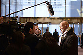 Chairman of the Inaugural Committee and real estate investor Thomas J. Barrack Jr.stops to talk to members of the media in the  lobby of the Trump Tower in New York, NY, on January 10, 2017. <br /> Credit: Anthony Behar / Pool via CNP
