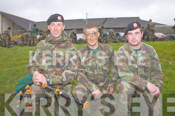 Pictured here at Colaiste na Sceilge, Cahersiveen on Friday last, members of the Irish Defense Forces (126th 3 Star Platoon) on the final day of a week long training exercise which took place in Portmagee pictured l-r; Corporal Edward Casey(Tralee), 3 Star Private John Fitzgerald(Sneem) & Gunner Marcus Dowling(Tralee).