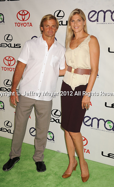 BURBANK, CA - SEPTEMBER 29: Laird Hamilton and Gabrielle Reece arrive at the 2012 Environmental Media Awards at Warner Bros. Studios on September 29, 2012 in Burbank, California.
