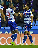 Garath McCleary of Reading right is congratulated by Yakou Meite of Reading after scoring the third goal during Reading vs Luton Town, Sky Bet EFL Championship Football at the Madejski Stadium on 9th November 2019