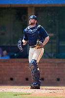 Mobile BayBears catcher Wade Wass (10) during a game against the Pensacola Blue Wahoos on April 26, 2017 at Hank Aaron Stadium in Mobile, Alabama.  Pensacola defeated Mobile 5-3.  (Mike Janes/Four Seam Images)