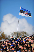Bath supporters in the crowd watch the action. LV= Cup match, between Bath Rugby and the Newport Gwent Dragons on November 10, 2012 at the Recreation Ground in Bath, England. Photo by: Patrick Khachfe / Onside Images