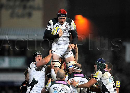 26.11.10. Nick Kennedy of London Irish wins the line out. Aviva Premiership Rugby Round 9 Northampton Saints vs London Irish at Franklin s Gardens, Northampton, England