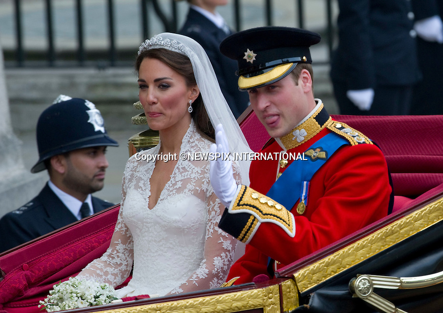 "PRINCE WILLIAM AND CATHERINE MIDDLETON .Marry at Westminster Abbey,London_29/04/2011.Mandatory Photo Credit: ©Dias/Newspix International..**ALL FEES PAYABLE  TO: ""NEWSPIX INTERNATIONAL""**..PHOTO CREDIT MANDATORY!!: NEWSPIX INTERNATIONAL(Failure to credit will incur a surcharge of 100% of reproduction fees)..IMMEDIATE CONFIRMATION OF USAGE REQUIRED:.Newspix International, 31 Chinnery Hill, Bishop's Stortford, ENGLAND CM23 3PS.Tel:+441279 324672  ; Fax: +441279656877.Mobile:  0777568 1153.e-mail: info@newspixinternational.co.uk"