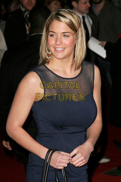 "GEMMA ATKINSON.""Marley & Me"" UK film premiere held at Vue cinema, Leicester Square, London, England..March 2nd, 2009. .half length black sleeveless blue dress mesh black .CAP/AH.©Adam Houghton/Capital Pictures."
