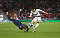 Tottenham Hotspur's Son Heung-Min gets in a shot under pressure from PSV Eindhoven's Daniel Schwaab<br /> <br /> Photographer Rob Newell/CameraSport<br /> <br /> UEFA Champions League -Group B - Tottenham Hotspur v PSV Eindhoven - Tuesday 6th November 2018 - Wembley Stadium - London<br />  <br /> World Copyright © 2018 CameraSport. All rights reserved. 43 Linden Ave. Countesthorpe. Leicester. England. LE8 5PG - Tel: +44 (0) 116 277 4147 - admin@camerasport.com - www.camerasport.com