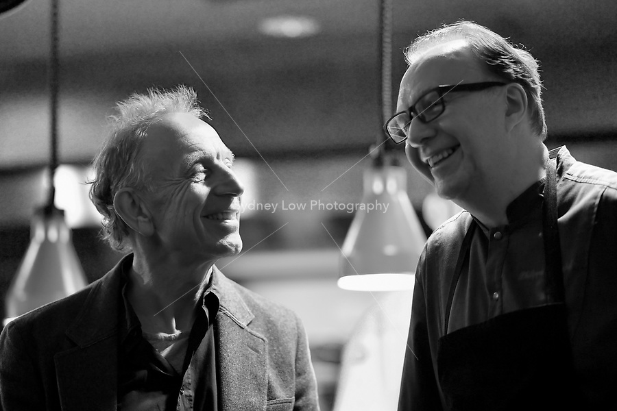 Will Studd and Philippe Mouchel during a dinner at Philippe Restaurant in Melbourne, Australia on 12 September 2017. Photo Sydney Low