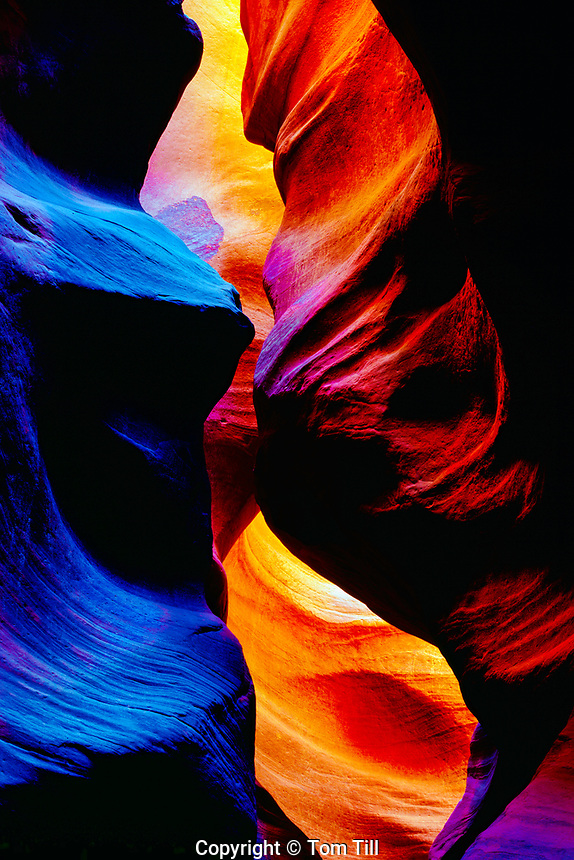 Inside a slot canyon, Proposed Kanab Creek Wilderness, Utah, narrow canyon in Navajo sandstone, swirled sandstone erosion from flashfloods