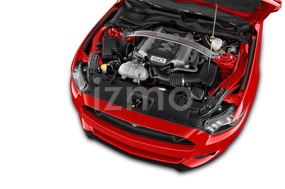 Car Stock 2016 Ford Mustang GT 2 Door Convertible Engine high angle detail view