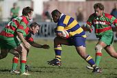 Prop Taula charges at the Waiuku loose forwards, Olsen & Parry. Counties Manukau Premier Club Rugby, Waiuku vs Patumahoe played at Rugby Park, Waiuku on the 8th of April 2006. Waiuku won 18 - 15