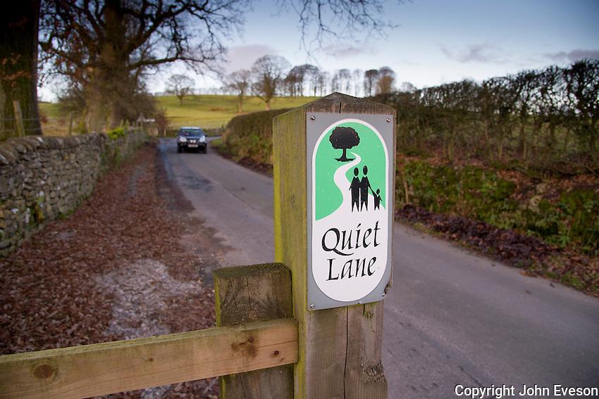 Quiet lane sign, Forest of Bowland near Slaidburn, Lancashire.