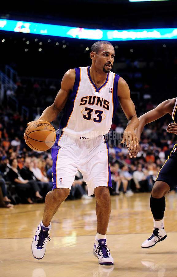 Oct. 12, 2010; Phoenix, AZ, USA; Phoenix Suns forward (33) Grant Hill against the Utah Jazz during a preseason game at the US Airways Center. Mandatory Credit: Mark J. Rebilas-