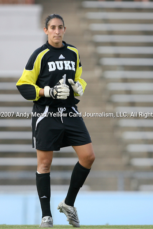 07 September 2007: Duke's Allison Lipsher. The Duke University Blue Devils defeated the Yale University Bulldogs 1-0 at Fetzer Field in Chapel Hill, North Carolina in an NCAA Division I Women's Soccer game, and part of the annual Nike Carolina Classic tournament.