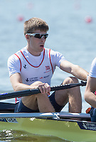Brandenburg. GERMANY.<br /> GBR LM2-, Bow Joel CASSELLS, at the start of their heat. 2016 European Rowing Championships at the Regattastrecke Beetzsee<br /> <br /> Friday  06/05/2016<br /> <br /> [Mandatory Credit; Peter SPURRIER/Intersport-images]