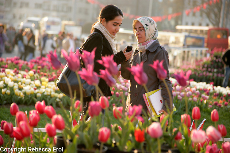 Girl at the Tulip Festival on Taksim Square, Istanbul, Turkey, in 2007
