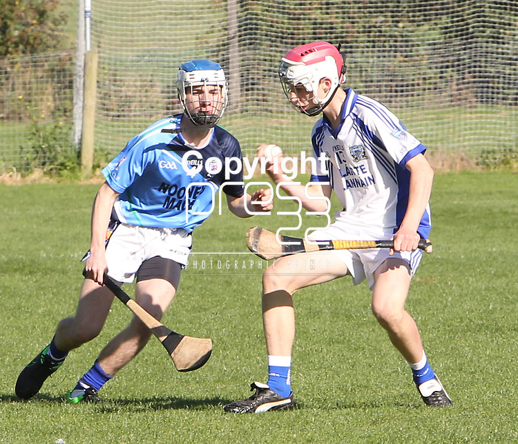 1310/2015   Action from Sixmilebridge where Sr Flannen's College took on Castletroy College in the Harty Cup.  Our photograph shows Breffni Horner, St Flannans with ball in hand about to be tackled by  Sean O&rsquo;Kane, Castletroy.<br /> Photograph Liam Burke/Press 22