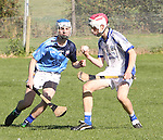 1310/2015   Action from Sixmilebridge where Sr Flannen's College took on Castletroy College in the Harty Cup.  Our photograph shows Breffni Horner, St Flannans with ball in hand about to be tackled by  Sean O&rsquo;Kane, Castletroy.<br />