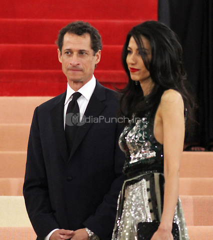 05 02 2016: Anthony Weiner, Huma Abedin, at Manus X Machina: Fashion In An Age of Technology at Metropolitan Museum of Art in New York. Credit:RWMediaPunch