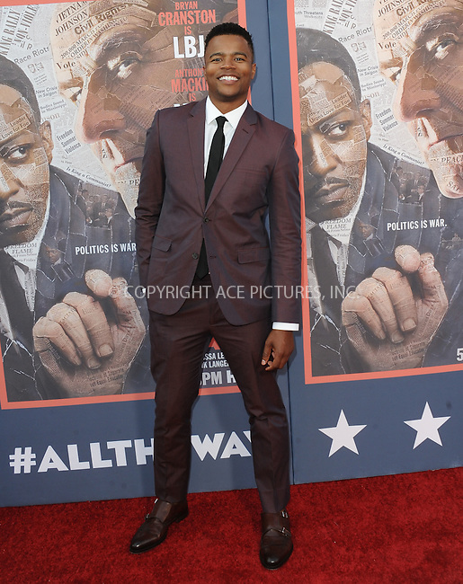 WWW.ACEPIXS.COM<br /> <br /> May 10 2016, LA<br /> <br /> Marque Richardson arriving at the premiere of HBO's 'All The Way' at Paramount Studios on May 10, 2016 in Hollywood, California.<br /> <br /> By Line: Peter West/ACE Pictures<br /> <br /> <br /> ACE Pictures, Inc.<br /> tel: 646 769 0430<br /> Email: info@acepixs.com<br /> www.acepixs.com