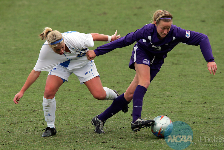 04 DEC 2005:  Megan Rapinoe (3) of the University of Portland and McCall Qerboni (6) of the University of California Los Angeles battle for the ball in the Division I Women's Soccer Championship held at Aggie Soccer Stadium on the campus of Texas A&M in College Station, TX.  Portland defeated the University of California Los Angeles 4-0 to win the national title.   Rodolfo Gonzalez/NCAA Photos