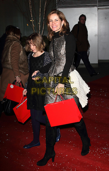 Darcey Bussell.The English National Ballet - The Nutcracker gala performance, London Coliseum, St Martin's Lane, London, England.December 13th 2012.full length silver gold dress red goody bag  boots sleeves .CAP/ROS.©Steve Ross/Capital Pictures