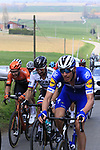 The lead group including Tim Declercq (BEL) Deceuninck-Quick Step and Slovakian National Champion Peter Sagan (SVK) Bora-Hansgrohe climb Mont Noir during the 2019 Gent-Wevelgem in Flanders Fields running 252km from Deinze to Wevelgem, Belgium. 31st March 2019.<br /> Picture: Eoin Clarke | Cyclefile<br /> <br /> All photos usage must carry mandatory copyright credit (© Cyclefile | Eoin Clarke)