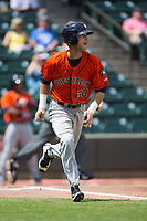 Kyle Tucker (30) of the Buies Creek Astros starts down the first base line during the game against the Winston-Salem Dash at BB&T Ballpark on April 16, 2017 in Winston-Salem, North Carolina.  The Dash defeated the Astros 6-2.  (Brian Westerholt/Four Seam Images)