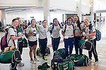 Women's soccer players from Wright State pose for a group photo before they board a flight to Los Angeles at Gate F8 at the Maynard H. Jackson Jr. International Terminal at Hartsfield–Jackson Atlanta International Airport, in Atlanta, Georgia on August 28, 2013.