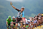 Romain Bardet (FRA) AG2R La Mondiale crosses the finish line at Peyragudes chased by Fabio Aru (ITA) Astana and Rigoberto Uran (COL) Cannondale Drapac to win Stage 12 of the 104th edition of the Tour de France 2017, running 214.5km from Pau to Peyragudes, France. 13th July 2017.<br /> Picture: ASO/Pauline Ballet | Cyclefile<br /> <br /> <br /> All photos usage must carry mandatory copyright credit (&copy; Cyclefile | ASO/Pauline Ballet)