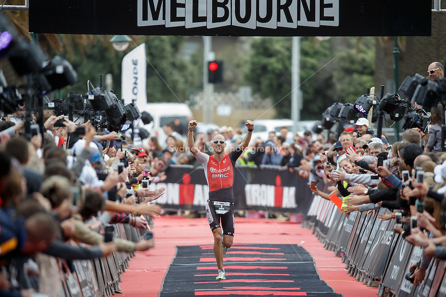 Dirk BOCKEL (LUX) celebrates after winning the IRONMAN Asia-Pacific Championship in Melbourne, Australia on Sunday March 23, 2013.