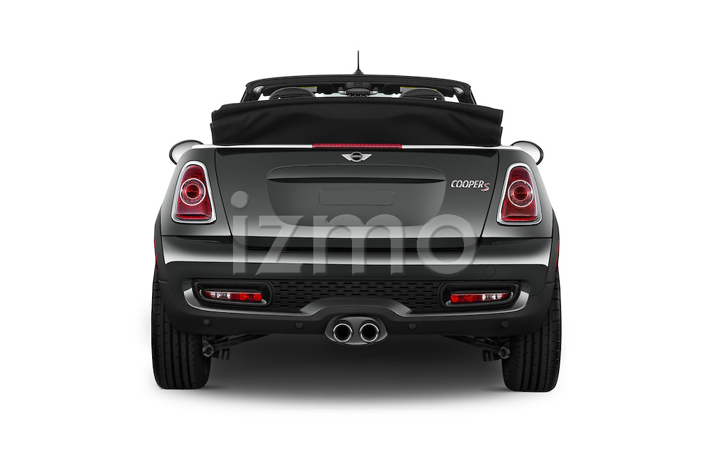 Straight rear view of a 2015 MINI Mini Cooper S 2 Door Convertible Rear View  stock images