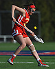 Izzy Grant #5 of Sacred Heart looks to gain control of a loose ball during a non-league varsity girls lacrosse game against host Cold Spring Harbor High School on Friday, Apr. 1, 2016. Cold Spring Harbor won by a score of 11-9.