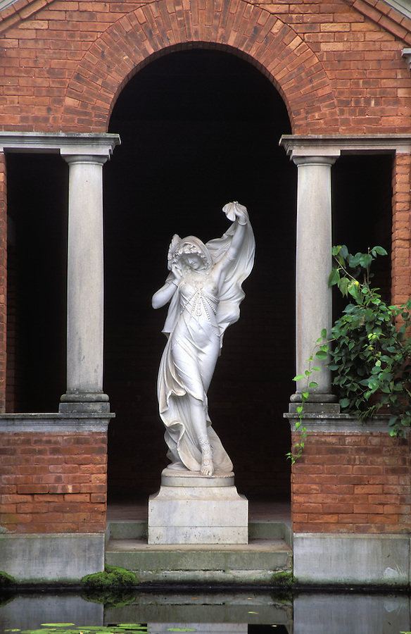 Statue of woman standing in brick archway, Vanderbilt Mansion National Historic Site, Hyde Park, Dutchess County, New York