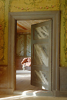 An open door in the entrance hall has been given a trompe l'oeil marbleised surface in tones of grey
