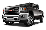 Stock pictures of low aggressive front three quarter view of a 2018 GMC Sierra 2500HD 2WD Crew Cab Standard Box SLT 4 Door Pick Up
