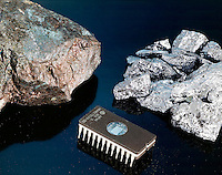 GERMANITE, E-PROM MEMORY CHIP &amp; SILICON METAL<br /> (Left to right)<br />  Germanite is an ore of germanium. Silicon metal is elemental silicon.