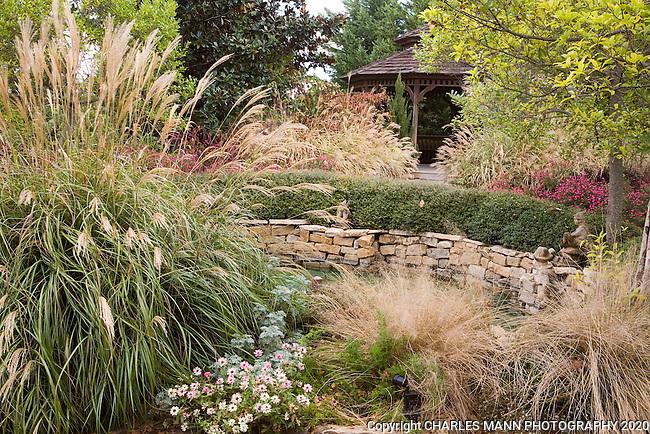 Douglas chandor garden gazebo with ornamental grasses and for Low ornamental grasses